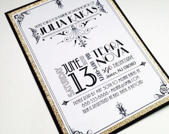 Roaring Twenties Black White and Gold Invitations
