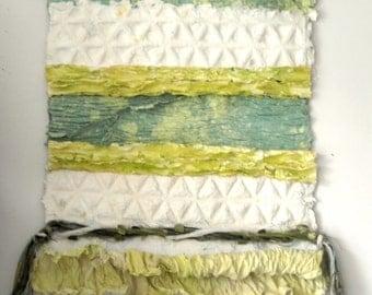 Green Paper Art Work, Mixed Media Wall Art, Fiber Art, Paper Wall Hanging, Contemporary Wall Art, Handmade Paper Tapestry, Paper Sculpture