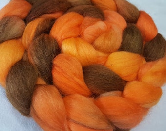 Hand Dyed Alpaca/Merino/Tussah Silk Roving - 50/30/20 - 4 oz - Cantaloupe Orange and Brown with some Gold