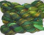 100g Recycled Sari Silk Ribbon Yarn, multi, 65 yards,   3.5 oz / 100 grams  Deep Green Olive