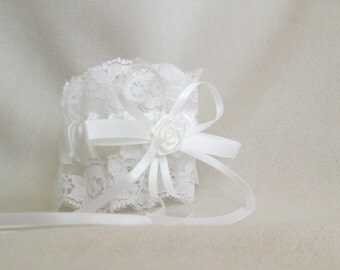 Clearance.....White Satin with Lace Garter