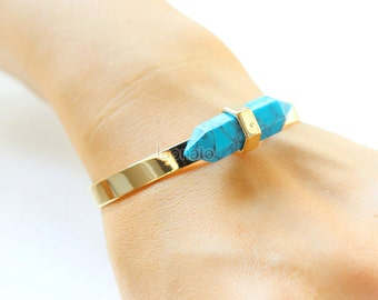 Turquiose Point Bangle / Turquiose Bracelet, gold, silver