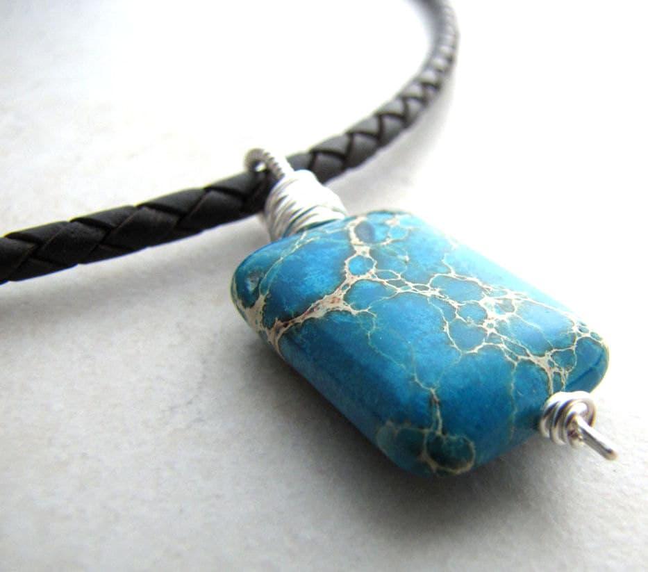 Men's Necklace Serpentine Necklace Gemstone Necklace  Men's Neckl...