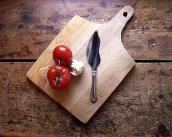 Vintage Large Handmade Wood Cutting Board with Hanging Handle