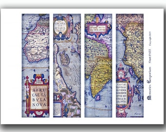 Old Map Bookmarks Antique World Book Marks for Travel Book Lovers DIY Bibliophile Paper Decoupage Cartography Printable Download 655