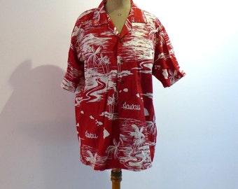 Vintage original red and white tropical cotton aloha shirt, Hawaiian shirt, luau shirt sz L