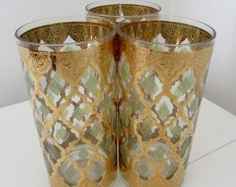 Mid Century Modern Barware Culver Pisa Valencia High Ball Glasses 22 carat gold
