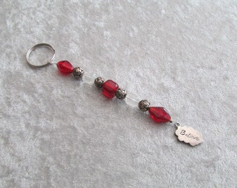 Red Believe Beaded Key Ring