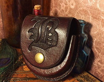 Monogrammed Initials Leather Pocket Watch Cases - Handcrafted Case - Made to Order