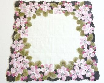 Sophisticated Vintage Hanky •  Handkerchief •  Hanky • Hankies • Vintage Hankies