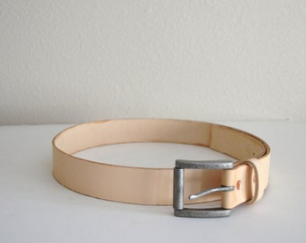 Hand Made Veg Tanned Leather Belt // Antique Nickel Finish Buckle // size 36