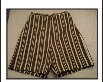 Vintage Ladies Shorts New Old Stock Brown And White Stripped
