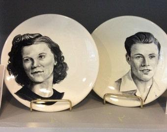 Custom hand painted portraits, Sm plates