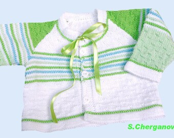 Discount! Hand knitted baby sweater, knitted baby jacket, white, green and blue baby sweater, READY TO SHIP