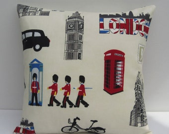 London Themed Pillow Cover, Iconic London Cushion Cover, Cream Decorative Pillow, London Landmarks, London Style Pillow Cover, Many Sizes