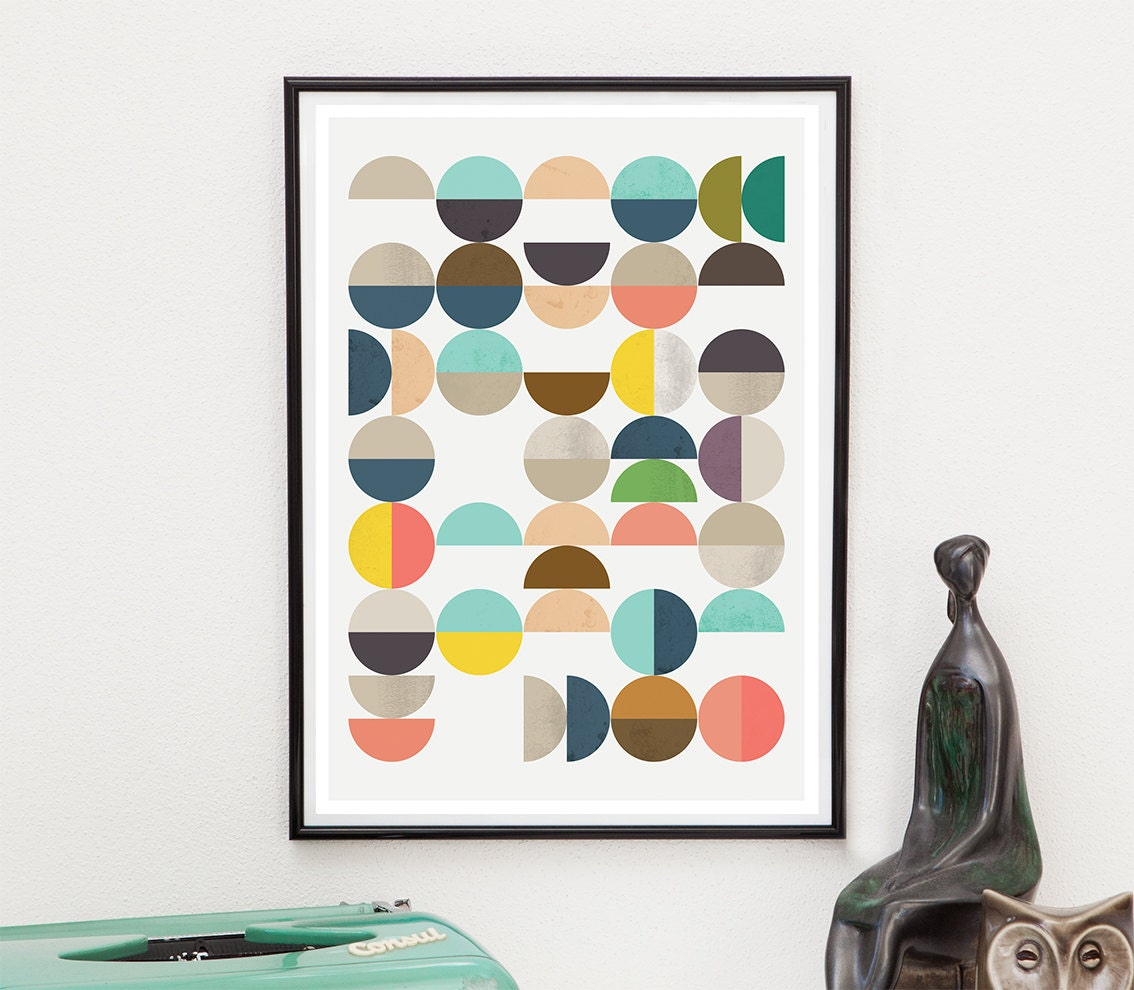 geoemtric print mid century art abstract art yellow pink. Black Bedroom Furniture Sets. Home Design Ideas