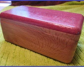 Small wooden keepsake box with purple heart top #5