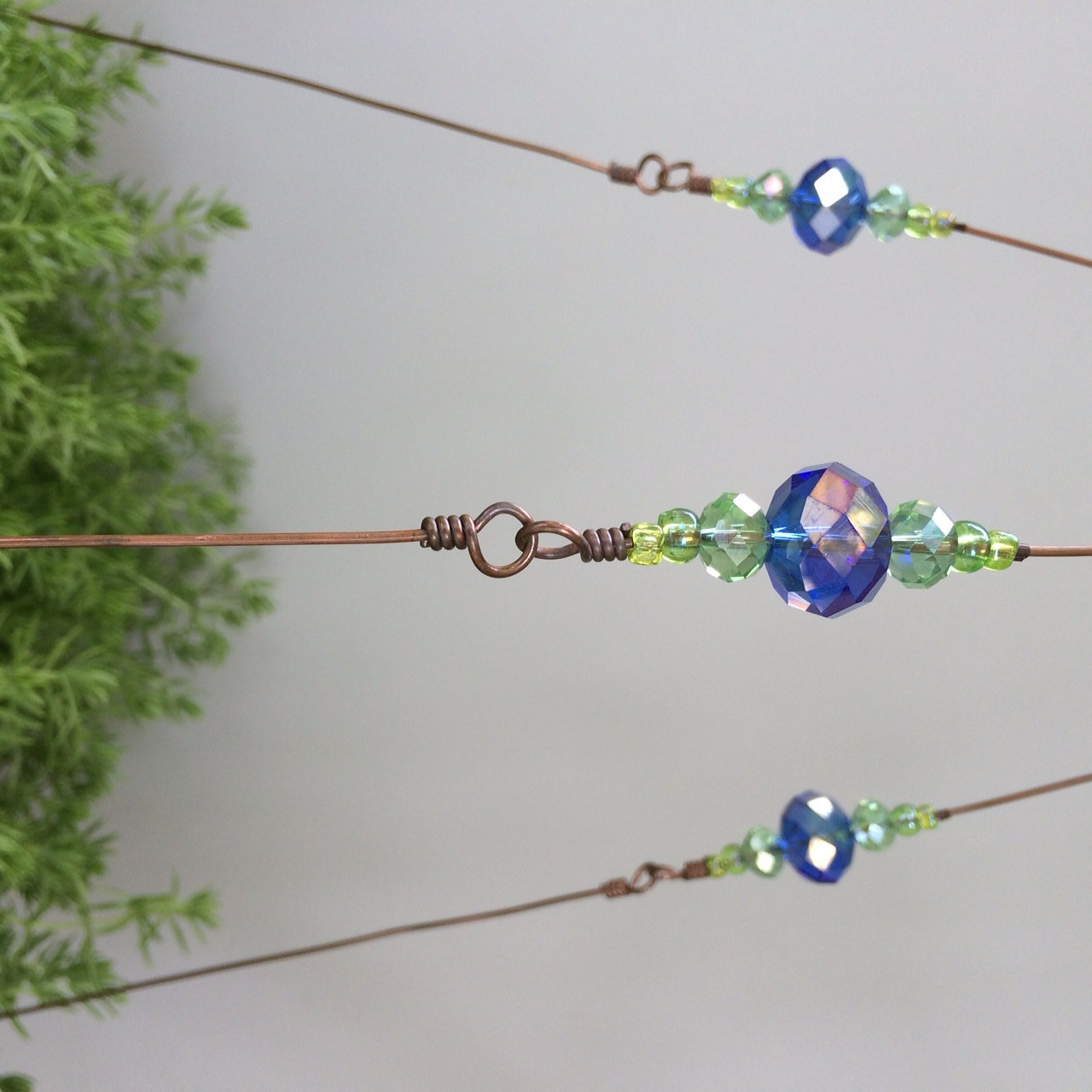 stardust beaded copper wire plant hanger
