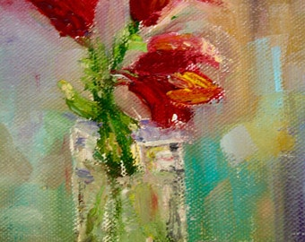 Original Oil Painting - Lilies Flowers - Floral Red - Small Painting - still Life - flowers in a vase - fine art home decor - wall art