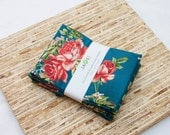 Large Cloth Napkins - Set of 4 - (N2446) - Teal Rose Flower Modern Reusable Fabric Napkins
