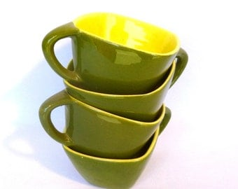 Vintage LA MIRADA CUPS / Lime green and Avocado usa ceramics/ set 4