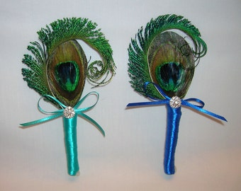 Peacock Wedding Boutonnniere, Choice of Stem Wrap Color