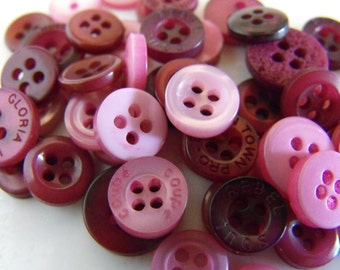 Raspberry Pink Buttons, 50 Small Assorted Round Sewing Crafting Bulk Buttons