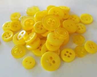 Sunshine Yellow Buttons, 50 Small Assorted Round Sewing Crafting Bulk Buttons