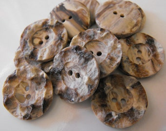 """12 Brown Carved Wood Large Round Buttons Size 7/8"""""""