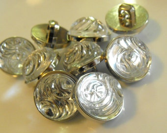 8 Silver and Clear Headlight Medium Round Shank Buttons Size 5/8""