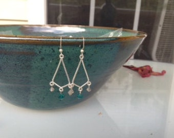 Turqoise and clear chandelier earrings