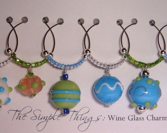 Pastel Round Bead Wine Glass Charms Seed Bead or Crystal