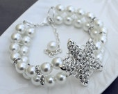 Bridal Pearl Rhinestone Bracelet Double Strand STARFISH Crystal Bracelet Beach Wedding Jewelry Ivory White Teal Pearls BL068LX