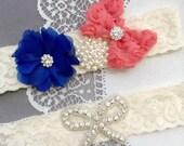 Wedding Garter Bridal Garter Coral Red Royal Blue Lace Garter Set Rhinestone Garter Crystal Pearl Garter Beach Wedding GR160LX