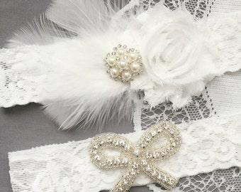 Wedding Garter Set Bridal Garter Set White Feather Lace Garter Set Ribbon Bow Rhinestone Bow Crystal Pearl Garter GR172LX