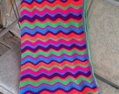 On Sale - Crochet blanket - chevron blanket - ripple blanket - free shipping -  ready to ship - Rainbow blanket - whimsical blanket
