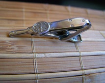 "Vintage 60's ""LEAVENs TORQ O METER"" Alligator Clip Silver Toned Tie Clip / Clasp Steampunk"