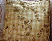 Schumacher Floral Check Inglebury Embroidered Silk Fabric Pillow