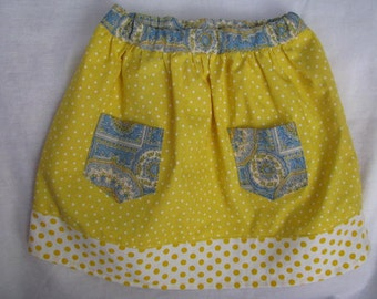 Yellow and Paisley Skirt Size 3T