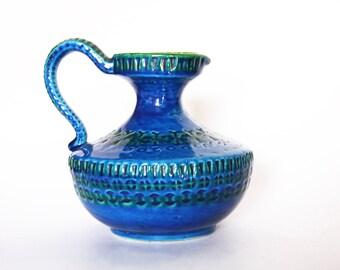 Vintage Large Hand Built Italian Rimini Blue Mid-Century Vase Jug - Aldo Londi for Bitossi 1960s
