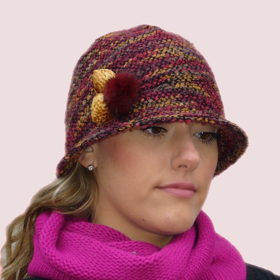 Autumn Tweed Soft Cloche Hat, Elegant Beanie with Brim, in Burgundy and Brown Wool and Angora Boucle Knit with Flower Pin