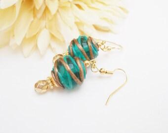Teal Green Lampwork Earrings, Mom Gift for Her, Statement Earrings, Glass Drop Earrings, Ocean Green Beaded Earrings, Clip On Earrings