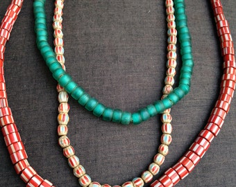 Old candy striped glass vintage tribal trade beads Nagaland necklaces or bead supply