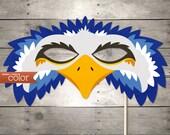 DIY Printable Blue Eagle Mask - Mardi Gras, Birthdays, Masquerade Ball, Weddings, or Halloween