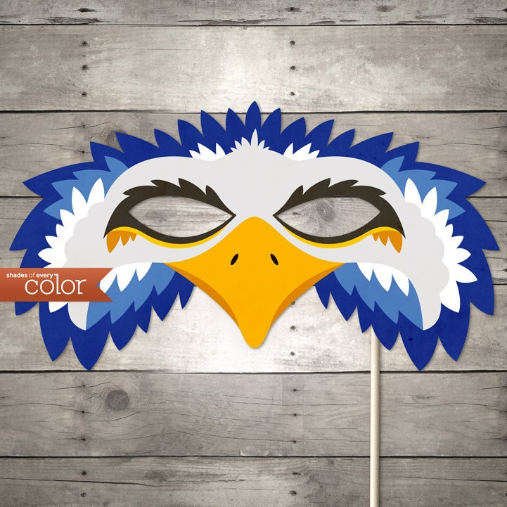 DIY Printable Blue Eagle Mask Mardi Gras Birthdays