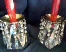 Brass Wax Collector Bobeche With White and Clear Beads Strung Together with Silver Colored Chain Links, Vintage
