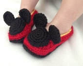 Crochet Mickey Baby Shoes Mouse Booties Infant Slippers