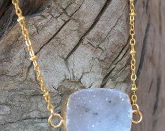Druzy Agate Necklace - Electroformed 24kt. Gold
