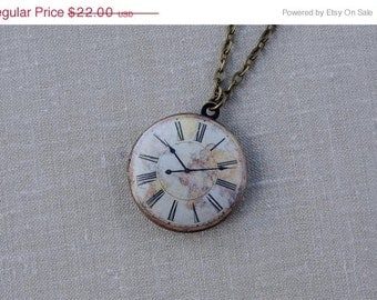Vintage Clock necklace- Clock locket necklace- World map necklace- World of the map necklace- Travel the World Necklace