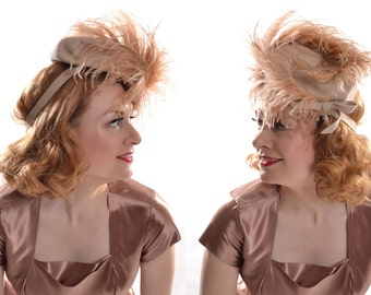 Vintage 1940s Stetson Feather Hat - Wedding Tilt Topper Perch - Blush Bridal Feathers